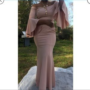 Dresses & Skirts - Blush Pink Formal Cold Shoulder Bell Sleeve Dress